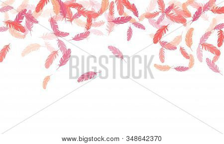 Beautiful Pink Flamingo Feathers Vector Background. Soft Plumelet Native Indian Ornament. Plumage Tr