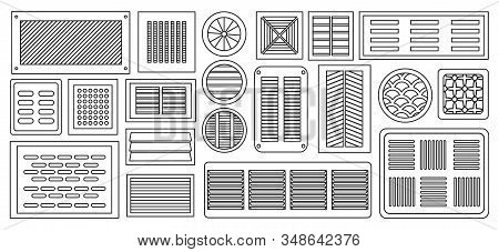 Air Vent Vector Outline, Line Set Icon.vector Illustration Ventilation Grate On White Background .is