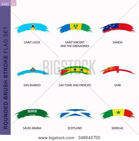 Rounded Grunge Brush Stroke Flag Set, Flags Of Saint Lucia, Saint Vincent And The Grenadines, Samoa,