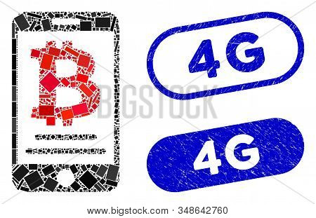 Mosaic Bitcoin Mobile Payment And Grunge Stamp Seals With 4g Caption. Mosaic Vector Bitcoin Mobile P