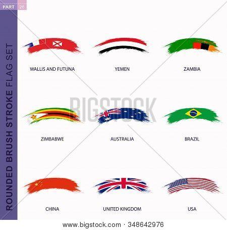 Rounded Grunge Brush Stroke Flag Set, Flags Of Australia, Brazil, China, Uk, Usa, Wallis And Futuna,