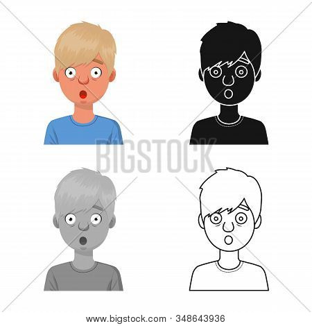 Vector Design Of Guy And Fright Logo. Collection Of Guy And Surprise Stock Vector Illustration.