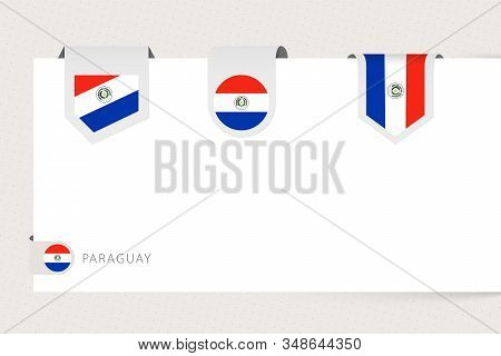 Label Flag Collection Of Paraguay In Different Shape. Ribbon Flag Template Of Paraguay Hanging From