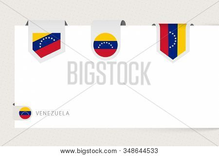 Label Flag Collection Of Venezuela In Different Shape. Ribbon Flag Template Of Venezuela Hanging Fro