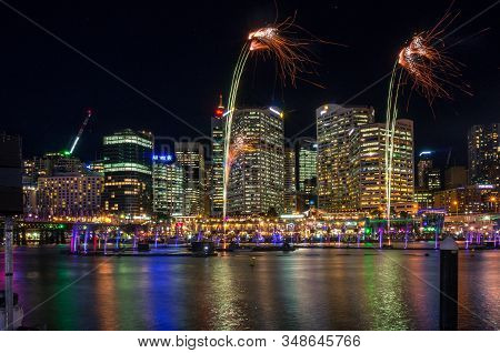 Sydney, Australia - June 9, 2016: Sparkling Fireworks In The Darling Harbour With Sydney Cityscape O