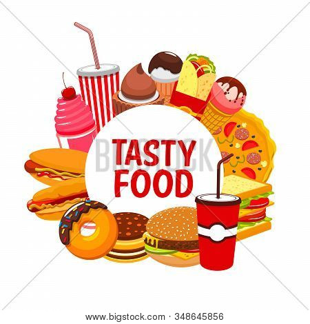 Fast Food And Street Food Restaurant Meals And Snacks Menu. Vector Fastfood Bistro Sandwiches, Pizza