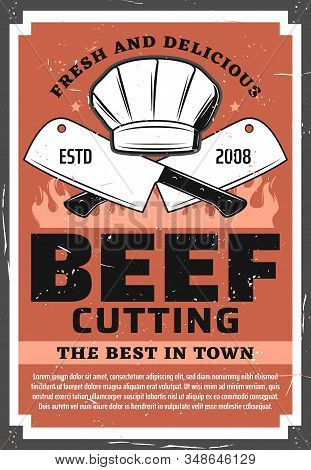 Beef Cutting, Butchery Shop Vintage Retro Poster. Vector Barbecue Picnic And Beefsteak Meat Grocery