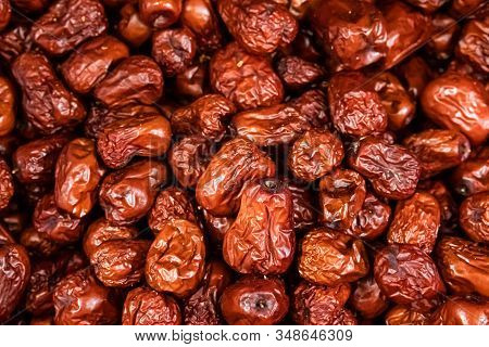 Top View Of Sweet Dried Dates (fruits Of Date Palm Phoenix Dactylifera). Bright Saturated Color And