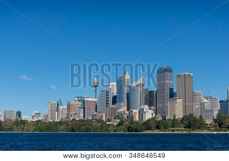 Sydney, Australia - July 23, 2016: Business District Cityscape With Futuristic Skyscrapers And Park