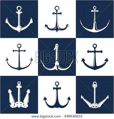 Set Of Anchors, White And Blue Flat Anchor Isolated , Marine Equipment, Travel And Tourism Concept,