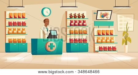 Male Pharmacist At Counter In Pharmacy. Vector Drugstore Interior With Medical Products And Vitamin
