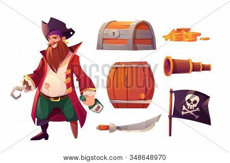 Vector Set Icons Of Pirate, Treasure Box, Gold Coins, Barrel And Black Flag With Skull And Crossbone
