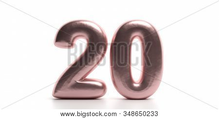 20 Twenty Number. Glossy, Sparkling Pink Purple Color Balloon Of Numeral 20 Isolated On White Backdr