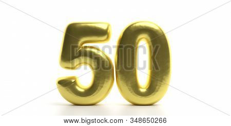 50 Fifty Number. Glossy, Sparkling And Gold Color Balloon Of Numeral 50 Isolated On White Backdrop.