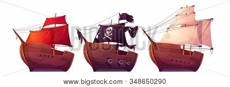 Vector Sail Boats With White, Red And Black Sails. Pirate Ship With Black Flag, Cannons, Skull And C