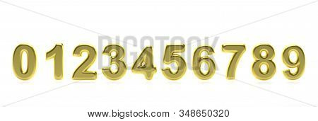 Numbers Collection From 0 To 9. Glossy, Inflated And Gold Color Balloon Of Numeral Set 0 To 9 Isolat
