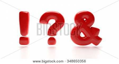 Exclamation, Ampersand, And Question Mark Punctuation Signs. Balloon Symbols Red Color Isolated On W