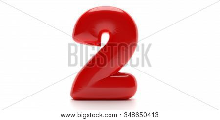 Two 2 Number. Glossy Balloon Passion Red Color Of Digit 2 Isolated On White Background. 3D Illustrat
