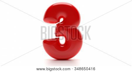 Three 3 Number. Glossy Balloon Passion Red Color Of Digit 3 Isolated On White Background. 3D Illustr