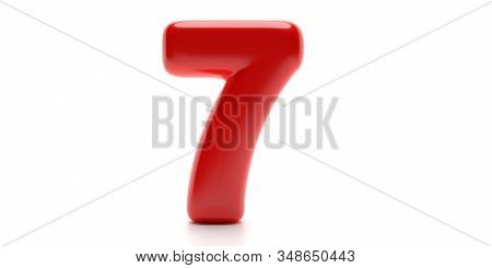 Seven 7 Number. Glossy Balloon Passion Red Color Of Digit 7 Isolated On White Background. 3D Illustr