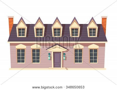 Urban Retro Colonial Style Building Cartoon Vector Illustration. Old Wooden Residential And Governme