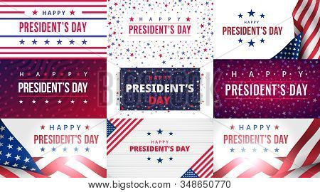 Happy Presidents Day. Set Of Greeting Cards With Inscription On Usa Blue Red Patriotic Background Wi