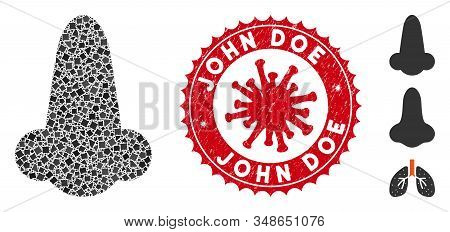 Mosaic Human Nose Icon And Red Rounded Distressed Stamp Seal With John Doe Phrase And Coronavirus Sy