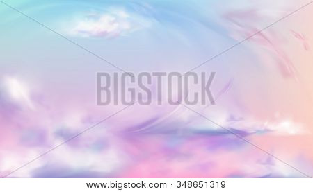Sky Or Heaven Background. Sunset Or Sunrise Nature Landscape With Pink, White, Blue And Lilac Soft F