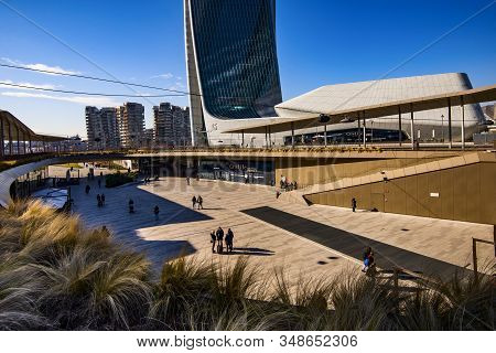 Milan, Italy - January 31, 2020: Citylife Shopping District Complex - The New Commercial And Residen
