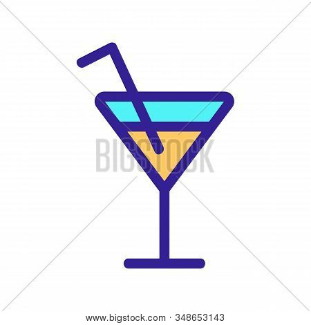 Cocktail Icon Vector. A Thin Line Sign. Isolated Contour Symbol Illustration