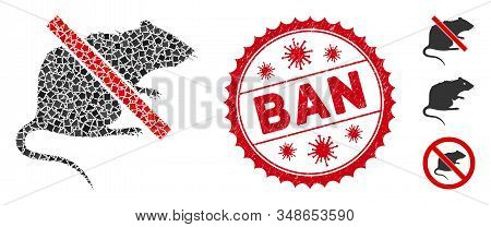 Collage No Rat Icon And Red Round Grunge Stamp Seal With Ban Phrase And Coronavirus Symbol. Mosaic V