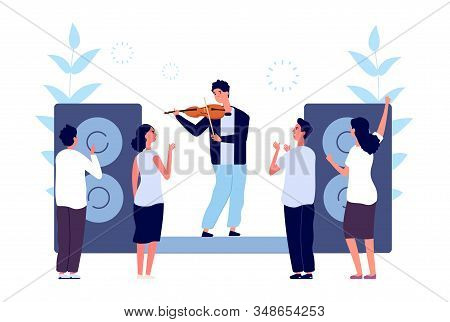 Classical Music Concert. Musician Violinist Performance. People Listen Sound Violin. Vector Evening
