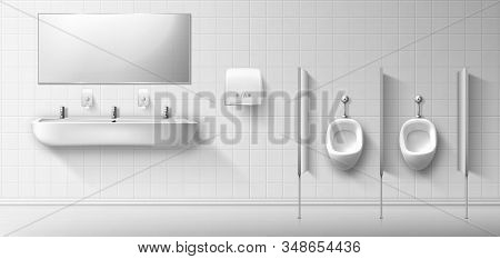 Public Male Toilet With Ceramic Urinal, Sink And Mirror. Vector Realistic Interior Of Empty Restroom