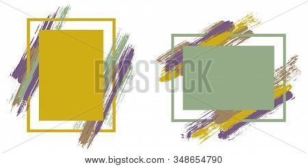 Grunge Frames With Paint Brush Strokes Vector Set. Box Borders With Painted Brushstrokes Backgrounds
