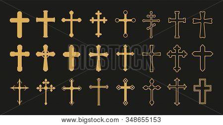 Christian Cross. Gold Crosses, Simple Decorative Crucifix. Catholicism Church Religion Vector Symbol