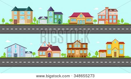Flat Cottage. Neighborhood Houses, Villa And Residential On Street. Suburban Village At Road. Proper