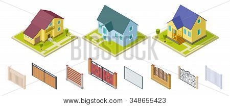 Rural Houses And Fences. Isolated Outdoor Design Elements. Isometric Buildings And Gates Vector Set.