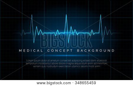 Emergency Ekg Monitoring. Electric Heartbeat Oscilloscope Monitor Signal Blue Vector Illustration, C