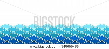 Water Waves. Ocean Surfing Wave, Isolated Sea Background. Abstract Nature Summer Banner. Vector Blue