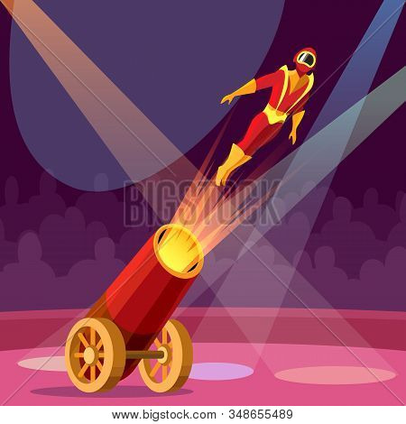 Man Cannon Shot. Circus Cannon Show With Human Cannonball, Cartoon Extreme Gun Shooting Event With R