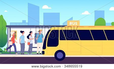 Bus Stop. City Transport, People Waiting Buses. Urban Street, Road, Men And Women. Public Transporta