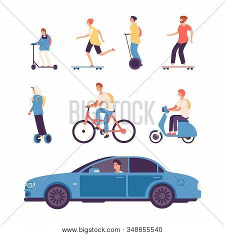 Man Drive. Guys On Scooter And Bike, Gyro Scooter And Skateboard. Male Driving Car Vector Illustrati