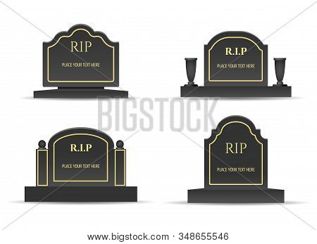 Grave Headstones. Tomb Gravetones Black Monuments With Rest In Peace Text, Burials Stones Vector Ima