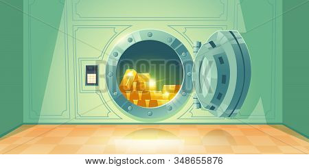 Bank Vault With Open Safe Door. Vector Cartoon Illustration Of Room With Round Steel Door And Dial L