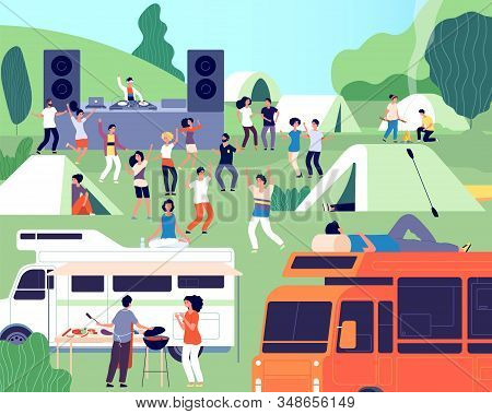 Open Air Festival. Musical Performance, Park Or Camp Concert. Outdoor Dj Stage, People And Tents. Mu