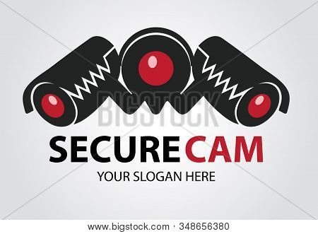 Secure Camera Logo Designs Concept, Toothy Cameras Are Monitored In Different Directions. Cctv Silho
