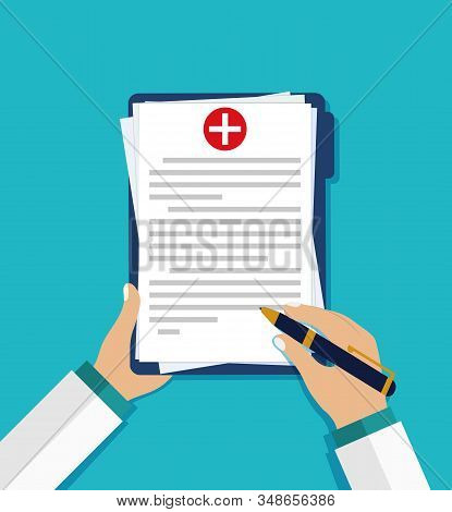 Doctor's Hand Fill Healthcare Form. Personal Health Form. Medical Clipboard With Prescription. Check