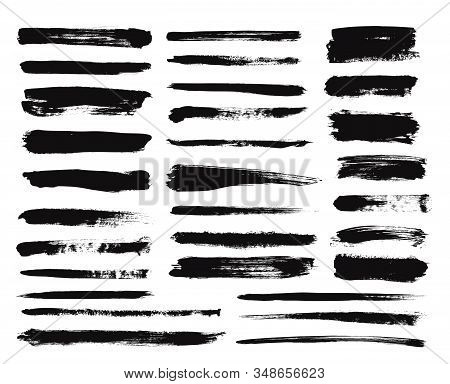 Ink Brush Stroke. Dry Paint Long Smear, Black Stains. Isolated Textured Straight Lines Or Art Grunge