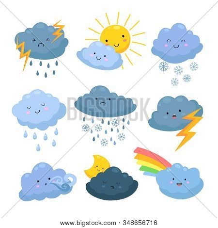 Cartoon Weather Clouds. Rain, Snow Elements. Heavenly Cloudy Shapes, Storm And Lightning, Sun And Mo
