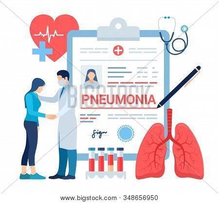 Medical Diagnosis - Pneumonia. Lungs Infection. Medical Concept Of Bacterial Pneumonia. Lung Disease